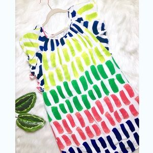 Neon Watercolor Print Ruffled Dress CROWN & IVY
